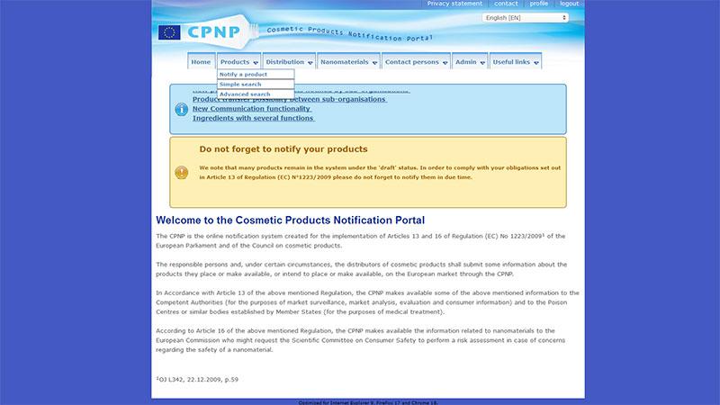 Portal de notificación de productos cosméticos
